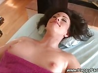 Sweet hot brunette gets a pussy massage